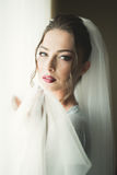 Luxury bride on the morning of wedding day Royalty Free Stock Image