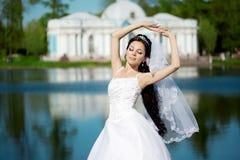 Luxury bride near palace Stock Photo