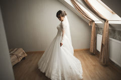 Luxury bride in white dress posing while preparing for the wedding ceremony Royalty Free Stock Photo