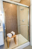 Luxury bright bathroom with a shower cabin Stock Photos