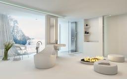 Luxury bright spacious bathroom interior Stock Photos