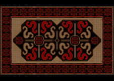 Luxury bright vintage rug with ethnic pattern dragons Stock Images