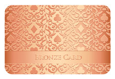 Luxury bronze card with card symbols ornament Royalty Free Stock Image
