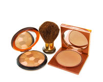 Luxury bronzers makeups. With brush. Isolated over white royalty free stock photos