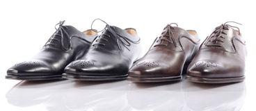 Luxury brown and black shoes Stock Photos