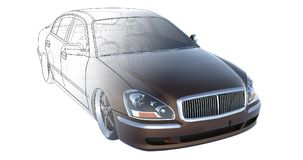 Luxury brown sedan car, rendering intersecting with the technical basis of the model. 3D rendering. Stock Images