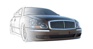 Luxury brown sedan car, rendering intersecting with the technical basis of the model. 3D rendering. Royalty Free Stock Image