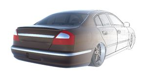 Luxury brown sedan car, rendering intersecting with the technical basis of the model. 3D rendering. Stock Photography