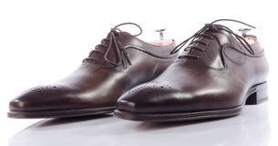 Luxury brown shoes Stock Photos