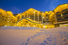 Luxury building in snow night Royalty Free Stock Photography