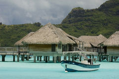Luxury bungalows. Luxury overwater bungalows of a hotel in French Polynesia Stock Image