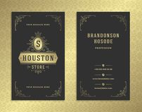 Luxury business card and golden vintage ornament logo vector template. royalty free illustration
