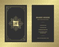 Luxury business card and golden vintage ornament logo vector template. stock illustration