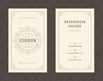 Luxury business card and vintage ornament logo vector template. vector illustration