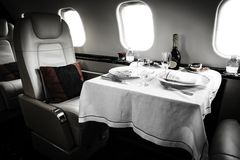 Luxury Business Jet Interior Stock Photos