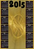 2015 luxury calendar with gold fractal decoration. Verticaly oriented annual calendar 2015 with gold fractal decoration Royalty Free Stock Photo