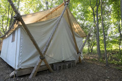 Luxury Camping Tent in the Woods   Stock Photos