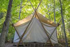 Luxury Camping Tent in the Woods   Royalty Free Stock Photo