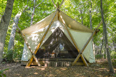 Luxury Camping Tent in the Woods   Royalty Free Stock Images