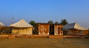 Luxury camping tents on Thar Desert stock photography
