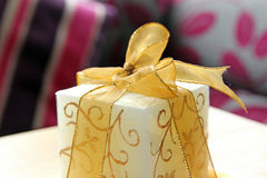 Luxury candle with gold ribbon detail Stock Photo