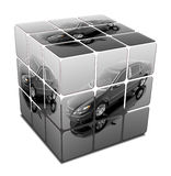 Luxury car. Luxury expensive car in cube isolated on a white Stock Images