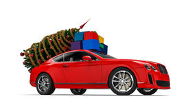 Luxury car with Christmas gifts Stock Photography
