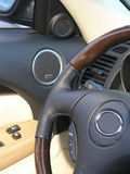 Luxury car convertible steering wheel Stock Images