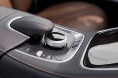 Luxury car dark control panel. Selector Stock Image