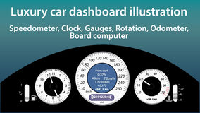 Luxury car dashboard illustration  - gauges, speedometer, clock, temperature, gas level, odometer indicators, flat design, Royalty Free Stock Photography