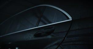 Luxury car door handle. Black car door handle, dolly stock video footage