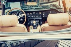 Luxury car interior. Beautiful retro style transport exhibition Royalty Free Stock Photography