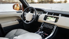 Luxury car interior details stock photography