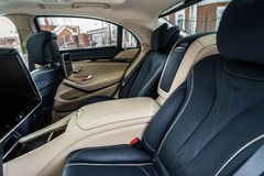 Luxury car interior details Stock Photo