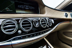 Luxury car interior details Stock Photos