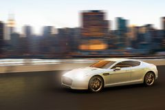 Luxury car in motion in front of Manhattan skyline. 3D rendering of a luxury car in motion in front of Manhattan skyline, New York City, New York, USA Royalty Free Stock Images