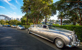 Luxury car in Sydney. Overlooking the Harbor Bridge Royalty Free Stock Photo