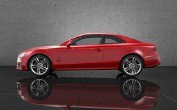 Luxury car wallpaper. Red sports car on grey background Stock Photo