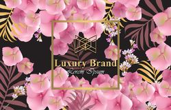 Luxury card with delicate flowers Vector. Beautiful illustration for brand book, business card or poster. Pink Stock Image