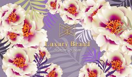 Luxury card with delicate flowers Vector. Beautiful illustration for brand book, business card or poster. Pink Royalty Free Stock Image