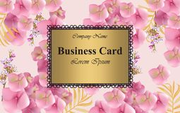 Luxury card with delicate flowers Vector. Beautiful illustration for brand book, business card or poster. Pink Stock Photo