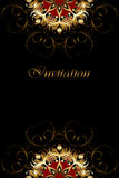 Luxury card with gold ornament on a black background. Stock Photos