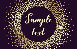 Luxury card with round frame of different sized golden dots on a purple background. Vector background. Luxury card with round frame of different sized golden Royalty Free Stock Image