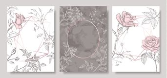 Luxury cards collection with marble texture ,hand-drawn flowers and geometric shape.Vector trendy background. Modern set royalty free illustration