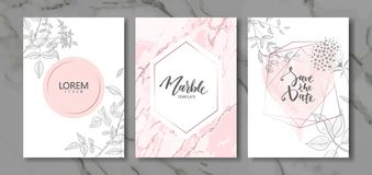 Luxury cards collection with marble texture and hand-drawn plants.Vector trendy background. Modern set of abstract card, template,. Posters,invitation stock illustration