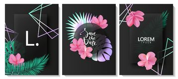 Luxury cards collection with marble texture,tropical leaves,flowers and geometric shape.Vector trendy background. Modern set of ab. Stract card, template,posters Vector Illustration