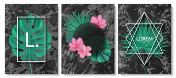 Luxury cards collection with marble texture,tropical leaves,flowers and geometric shape.Vector trendy background. Modern set of ab. Luxury cards collection with Stock Illustration