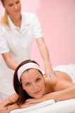Luxury care - woman at back massage Stock Photo