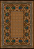 Luxury carpet with a blue pattern against the background brown shades Stock Images
