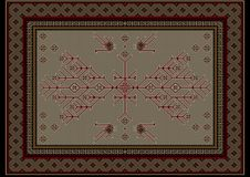 Carpet with ethnic patterned tree and birds in the center on beige background Stock Photo